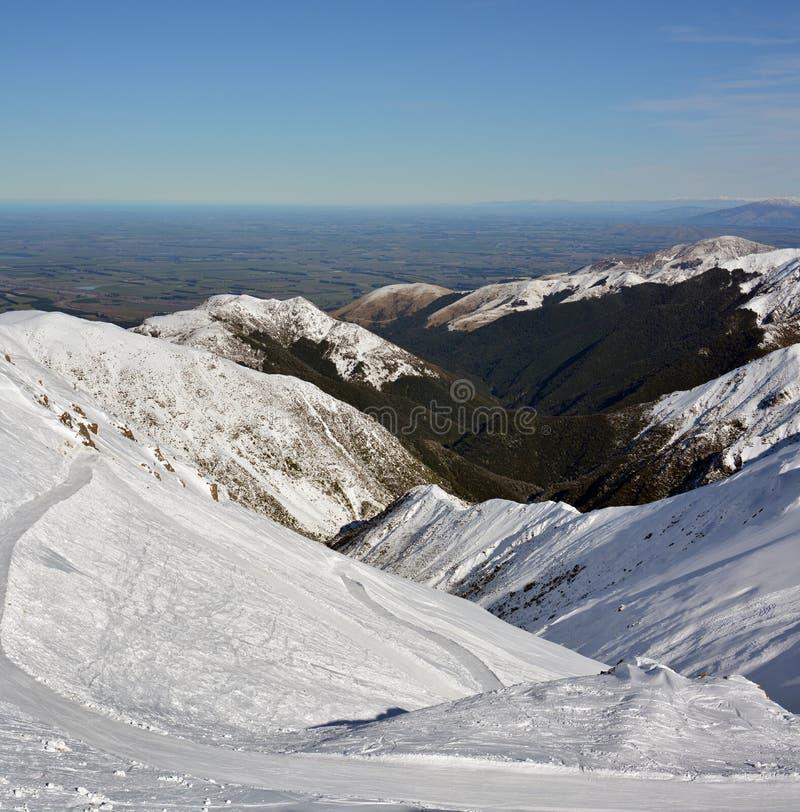 Panorama vertical das planícies de Canterbury da montagem Hutt S imagem de stock