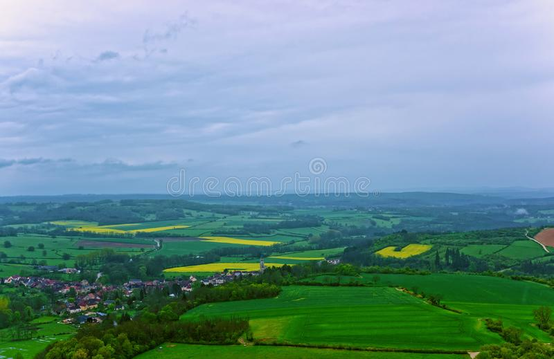 Panorama of Vezelay Bourgogne Franche Comte region France. Panorama of Vezelay town and village in Avallon of Yonne department in Bourgogne Franche Comte region royalty free stock photos