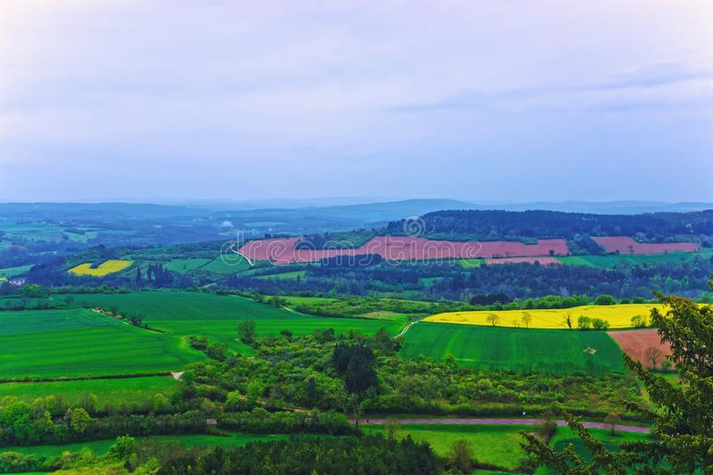 Panorama of Vezelay of Bourgogne Franche Comte region in France. Panorama of Vezelay village in Avallon of Yonne department in Bourgogne Franche Comte region, of stock images