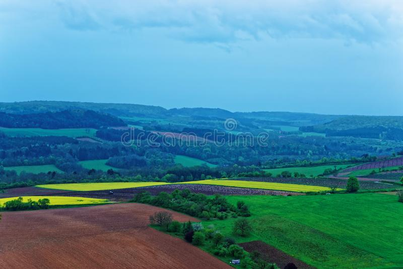 Panorama of Vezelay at Bourgogne Franche Comte region in France. Panorama of Vezelay village in Avallon of Yonne department in Bourgogne Franche Comte region royalty free stock image