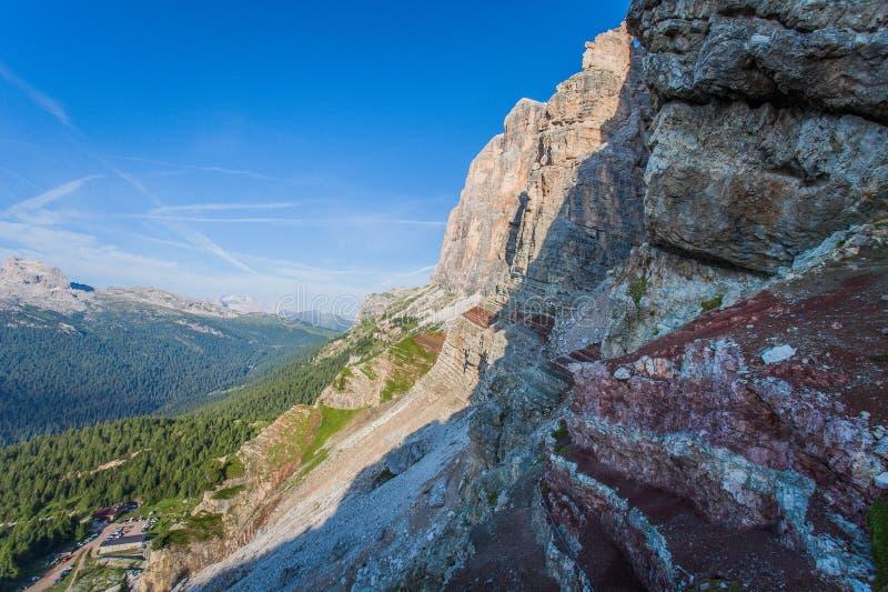 Panorama of Via Ferrata Astaldi upon Dibona mountain hut with colorful triassic rocks. Cortina d`Ampezzo, Dolomites, Italy stock photography
