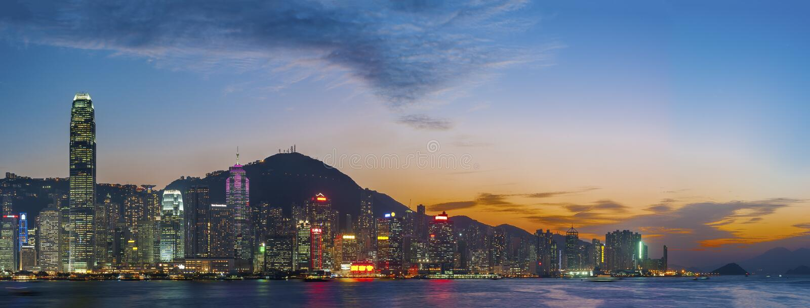 Panorama of Victoria Harbor of Hong Kong city royalty free stock images