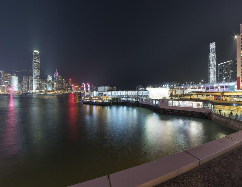 Victoria harbor of Hong Kong city at night royalty free stock photo