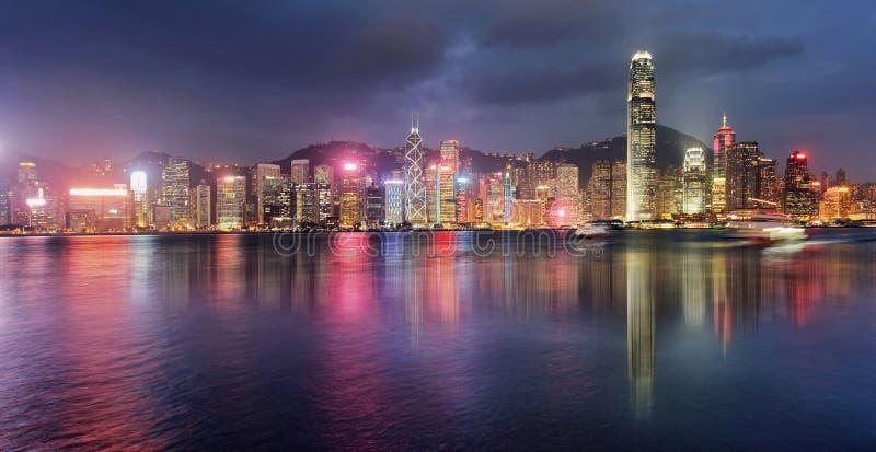 Panorama of Victoria Harbor night view at Hong Kong, China.  stock photography