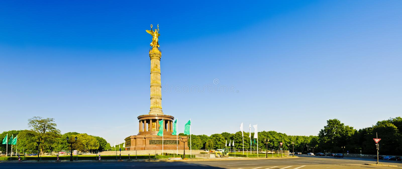Panorama victory column in berlin. Landscape panorama with victory column in berlin, germany stock photo