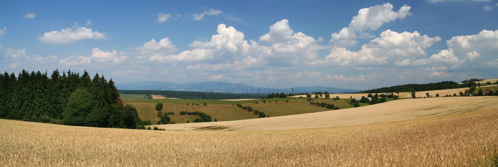 Panorama view. On hills in Czech Republic stock photos