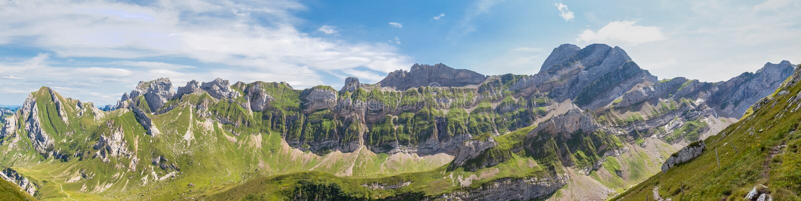 Panorama view of Alpstein massif. Spectaqular panorama view of the Alpstein mountain range with special layer structure, the swiss alps in Switzerland stock images