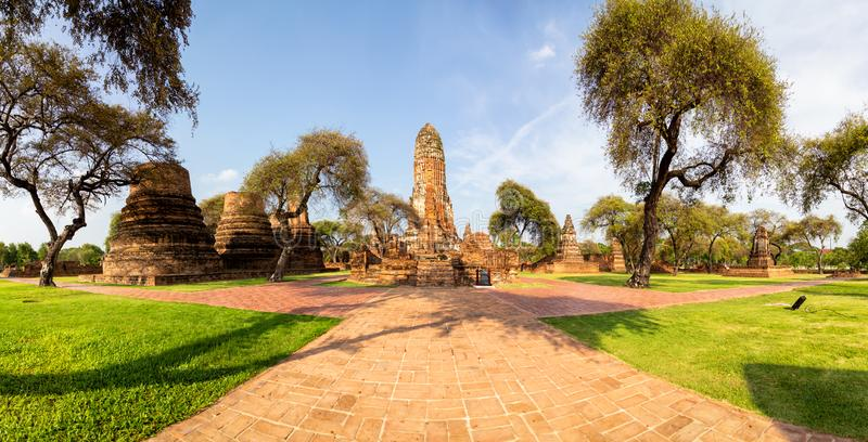 Panorama view,Ancient historic sites in Ayutthaya,Wat Phra Ram is a Buddhist temple in the city of Ayutthaya Historical Park, stock images