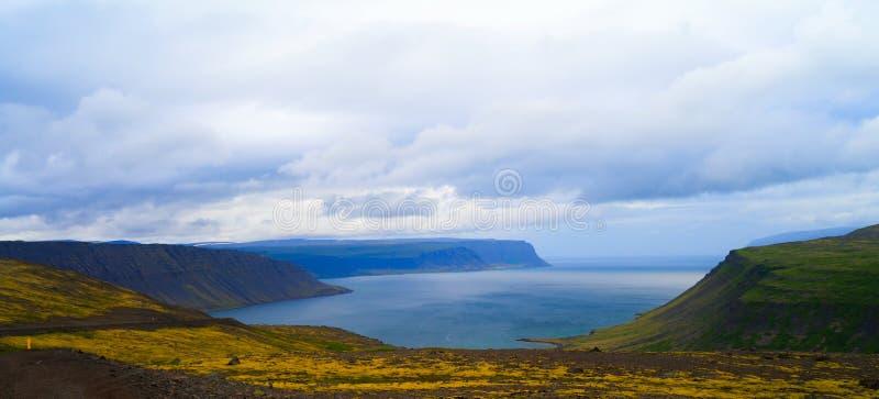 Panorama view of Arnarfjordur, Western fjords Iceland. Panorama view of Arnarfjordur, Western fjords, Iceland royalty free stock photography