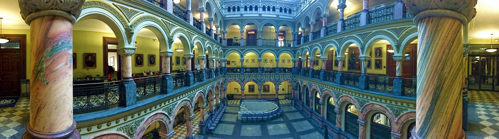 Panorama view of the Atrium in the Rochester City Hall. A Panorama view of the Atrium in the Rochester City Hall royalty free stock photo