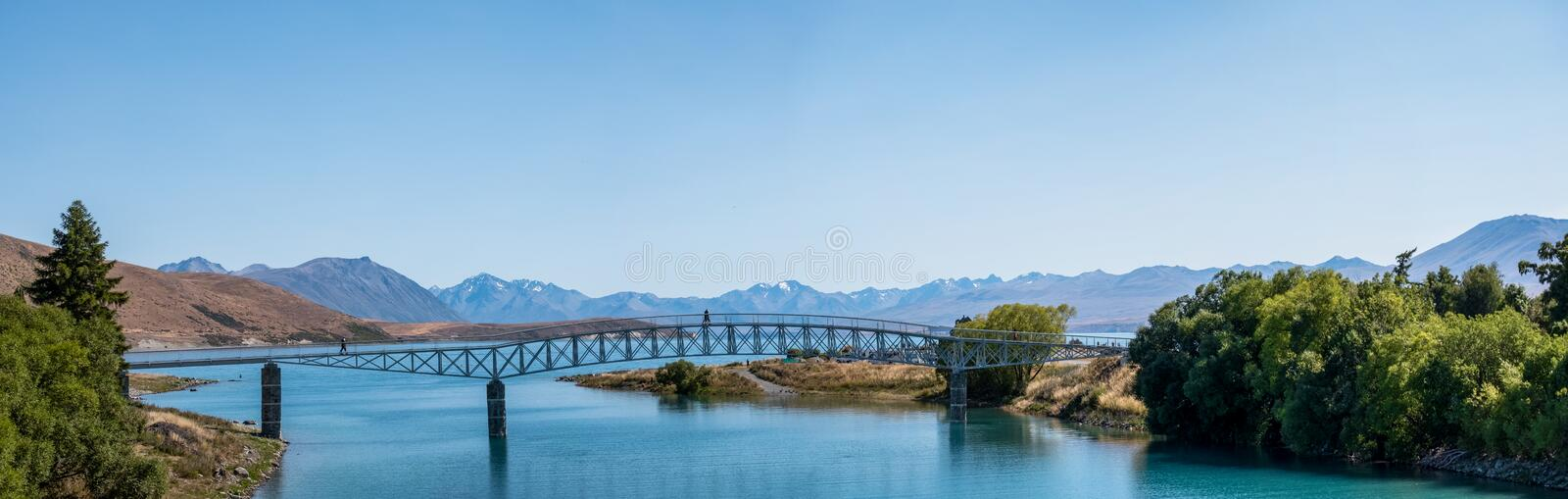 Panorama view of Beautiful scene of Mt Cook and Church of the Good Shepherd beside lake Tekapo with blue sky in summer. New stock photos