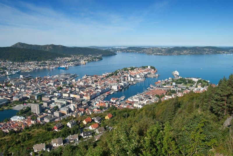 Panorama view of Bergen, Norway royalty free stock image