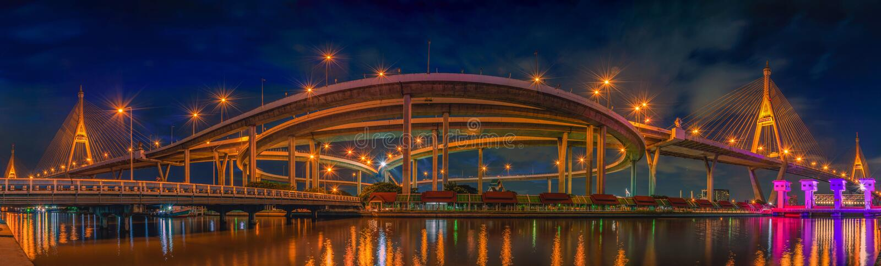 Panorama view of Bhumibol Bridge at night scene in Bangkok stock photography