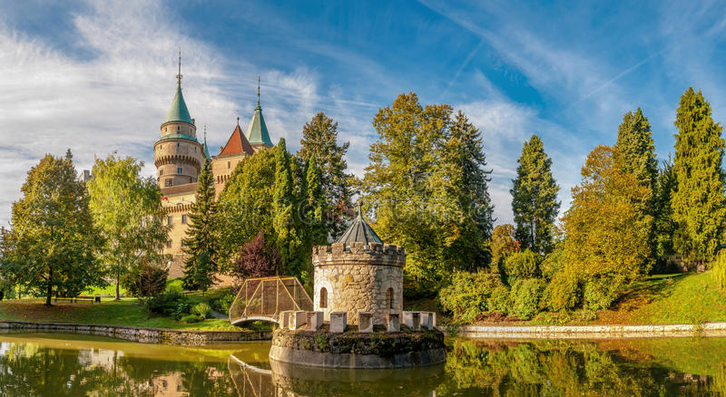 Panorama View at The Bojnice Castle with a Lake and Tower royalty free stock image