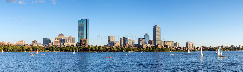 Panorama view of Boston Skyline in summer stock photos