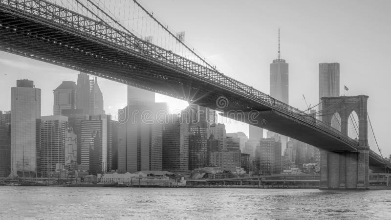 The panorama view of Brooklyn Bridge with Lower Manhattan at sun stock photography
