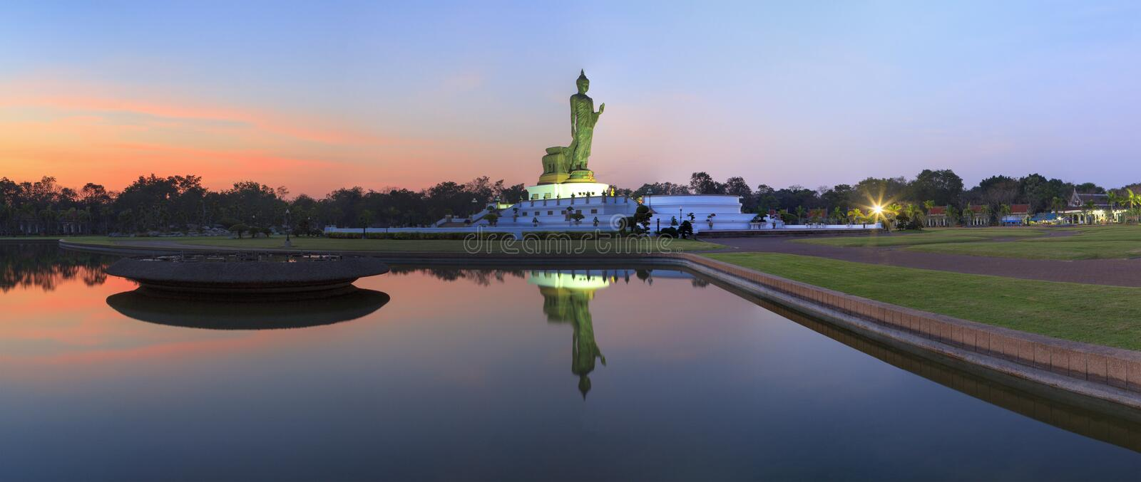 Panorama view of Buddha statue royalty free stock images