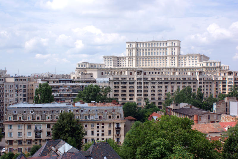 Panorama view with ceausescu palace stock photography