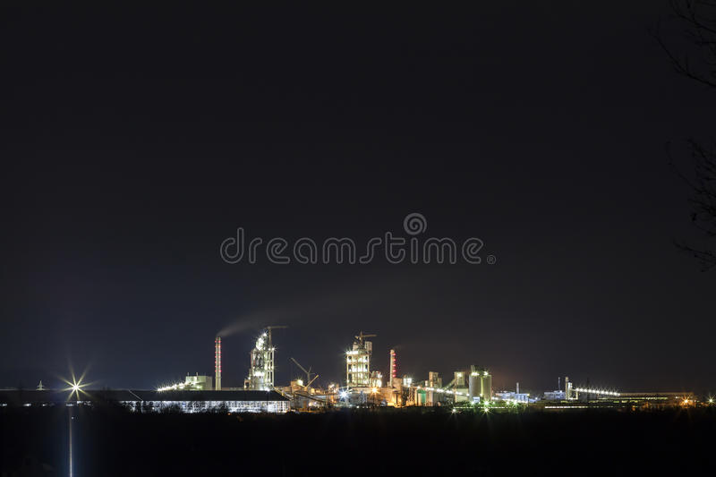 Download Panorama View Of Cement Plant And Power Sation At Night In Ivano Stock Image - Image of metal, dark: 88900517