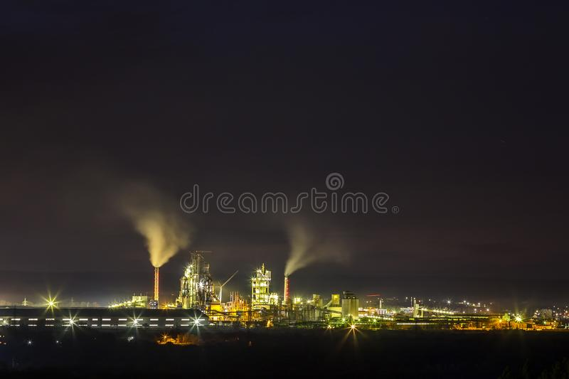 Download Panorama View Of Cement Plant And Power Sation At Night In Ivano Stock Image - Image of factory, coal: 106511517