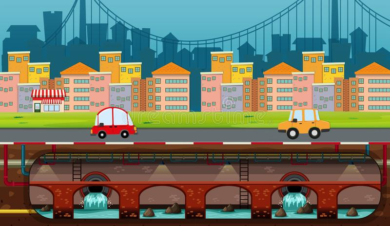 A Panorama View of City royalty free illustration