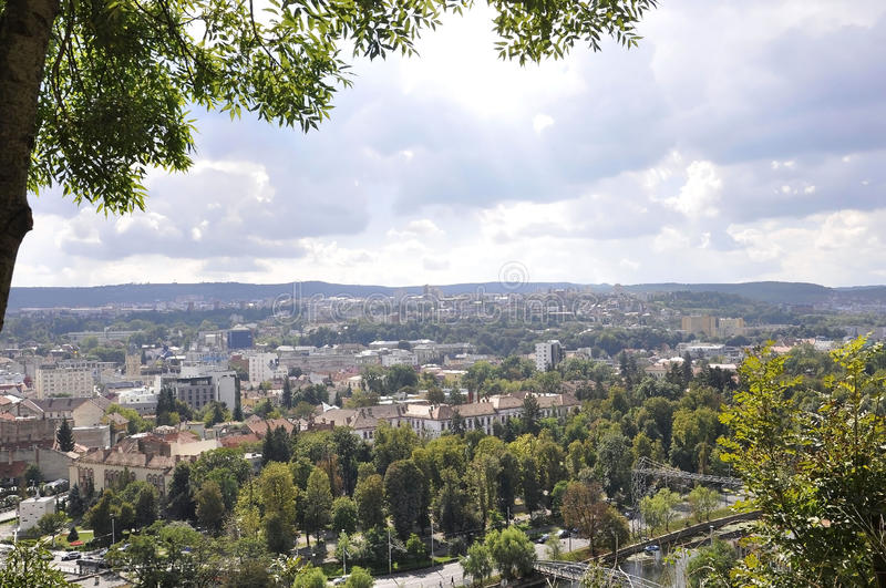 Panorama view of Cluj-Napoca town from Transylvania region in Romania stock photography