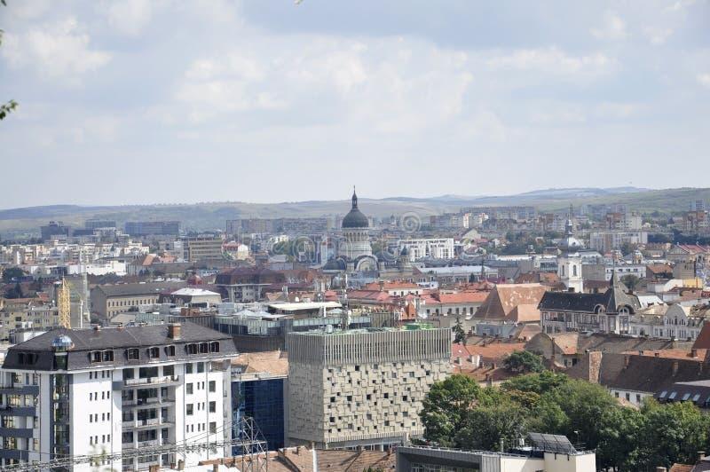 Panorama view of Cluj-Napoca town from Transylvania region in Romania royalty free stock image