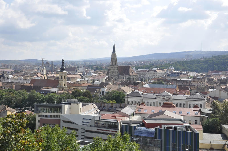 Panorama view of Cluj-Napoca town from Transylvania region in Romania royalty free stock images