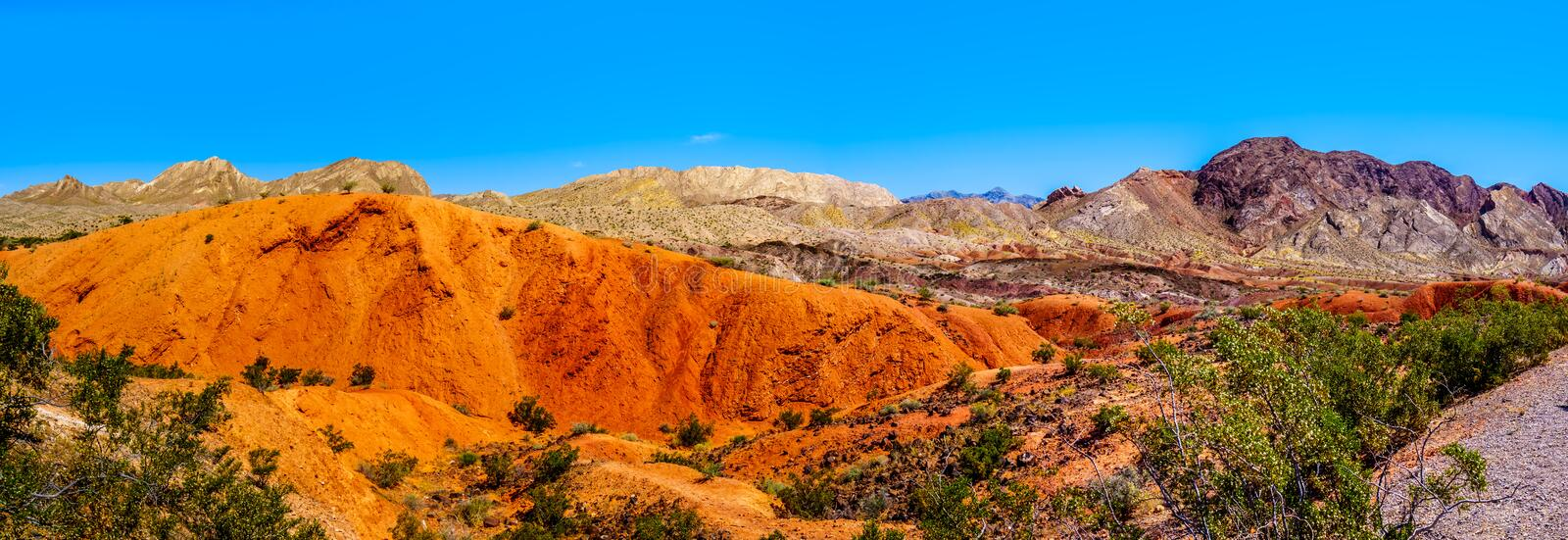 Panorama View of the colorful Mountains along Northshore Road SR167 in Lake Mead National Recreation Area stock image