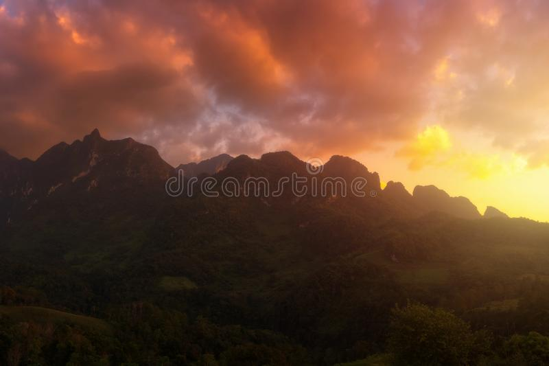 Panorama view of Doi Luang Chiang Dao mountain during sunse stock photo