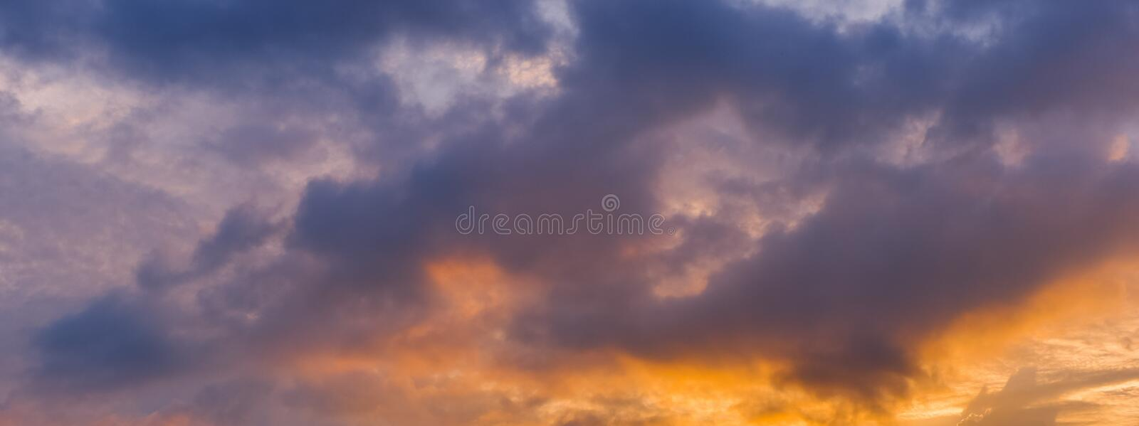 Panorama view of dramatic beautiful nature sunset sky and clouds. Background stock photos