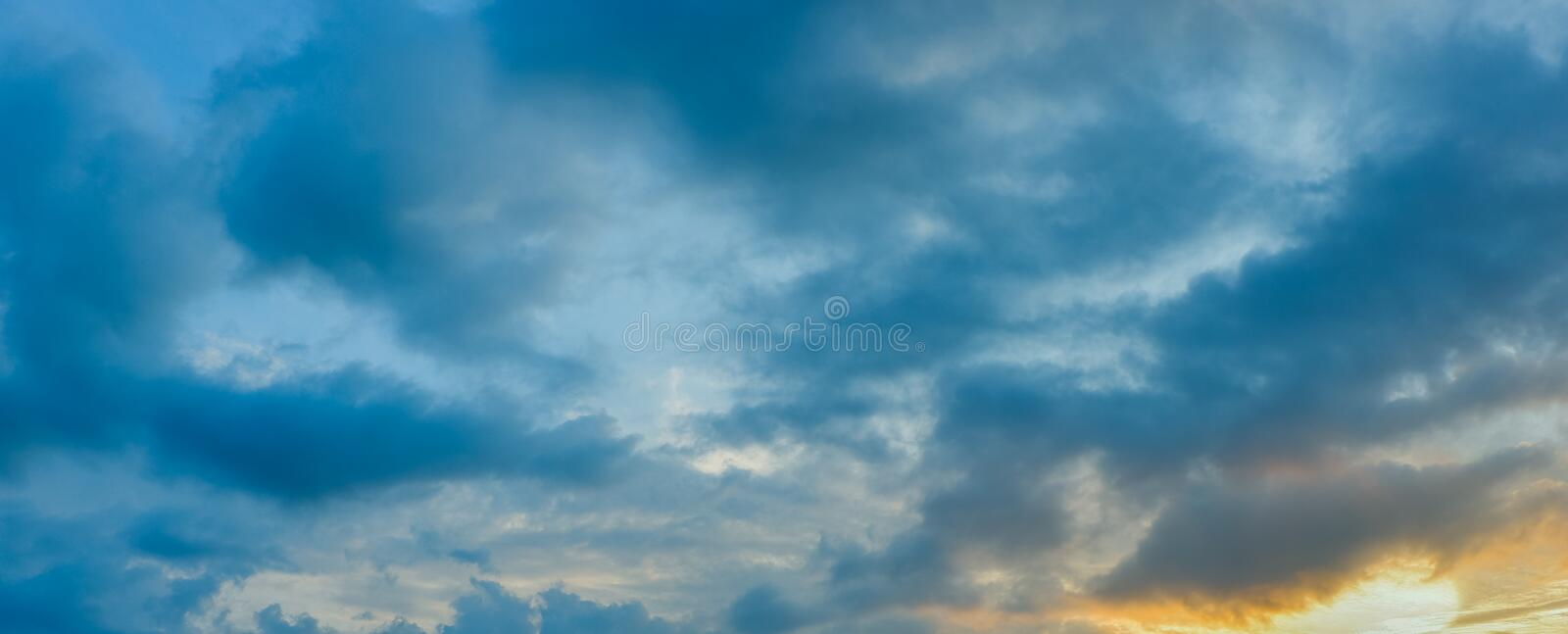Panorama view of dramatic beautiful nature sunset sky and clouds. Background royalty free stock photography