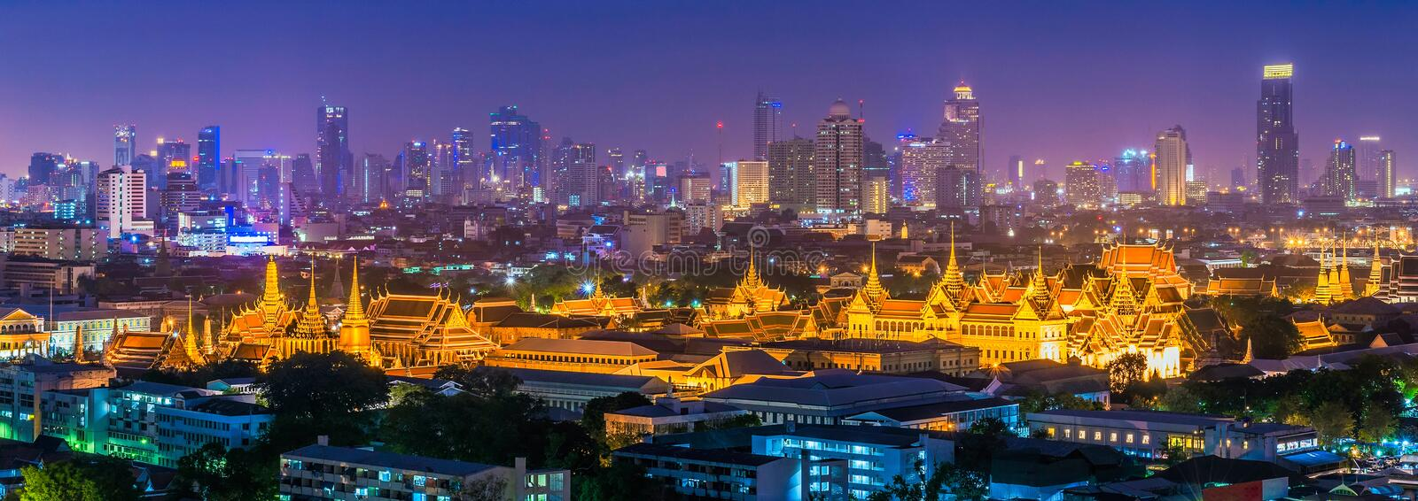 Panorama view of Emerald Buddha temple in Bangkok,Thailand royalty free stock photography