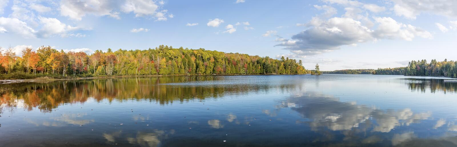 Panorama View of Fall Colors Reflecting on a Lake royalty free stock image