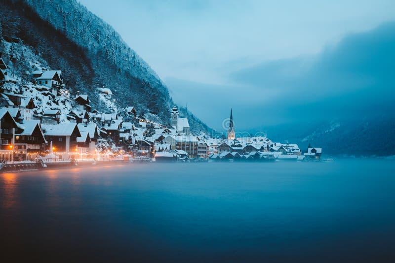 Twilight view of Hallstatt in winter, Salzkammergut, Austria stock images