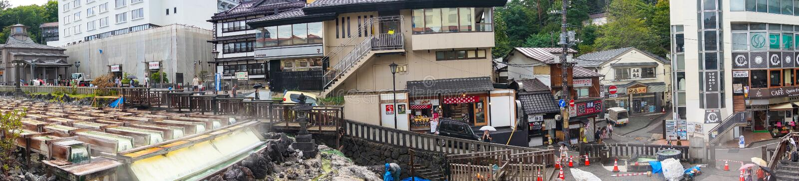 Panorama view of famous Yubatake hot spring, onsen and Kusatsu s royalty free stock images