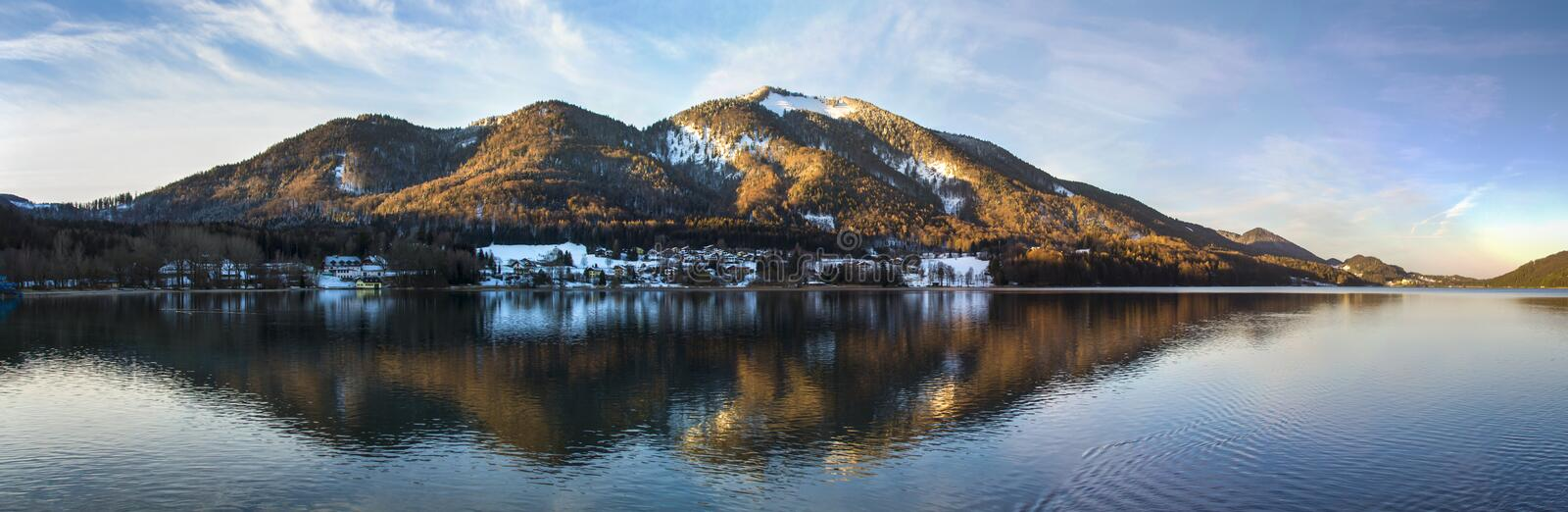 Panorama view on the Fuschlsee in the Salzkammergut, Austria, 20 stock photography