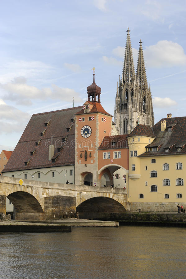 Download A Panorama View Of The  German Town Regensburg Stock Image - Image: 11062333