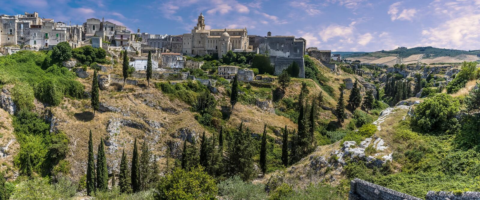 Gravina in Puglia, Italy with the cathedral visible in the old town royalty free stock photography