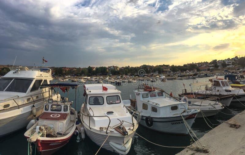 Panorama view of guneyli village and harbor in Gallipoli (Gelibolu) Canakkale. The Mace. CANAKKALE, TURKEY- SEP 12, 2016: Panorama view of guneyli village and royalty free stock image