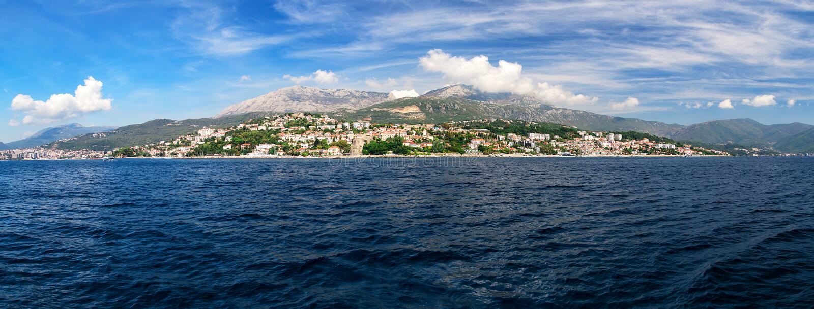 Panorama view at Herceg Novi city and high mountain stock photos