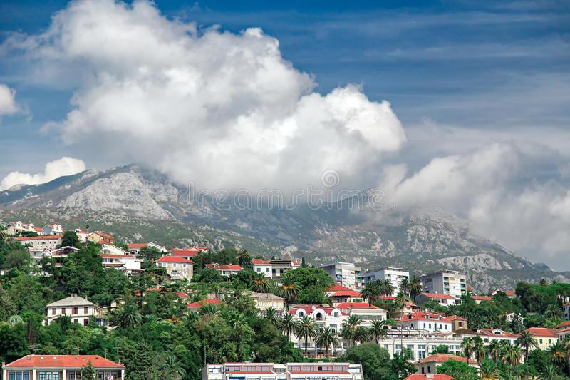 Panorama view at Herceg Novi city and high mountain royalty free stock photography