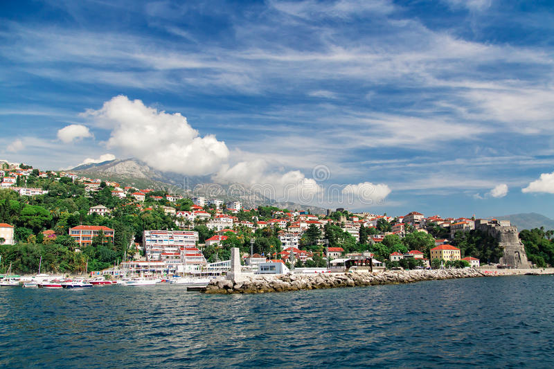 Panorama view at Herceg Novi city and high mountain royalty free stock images