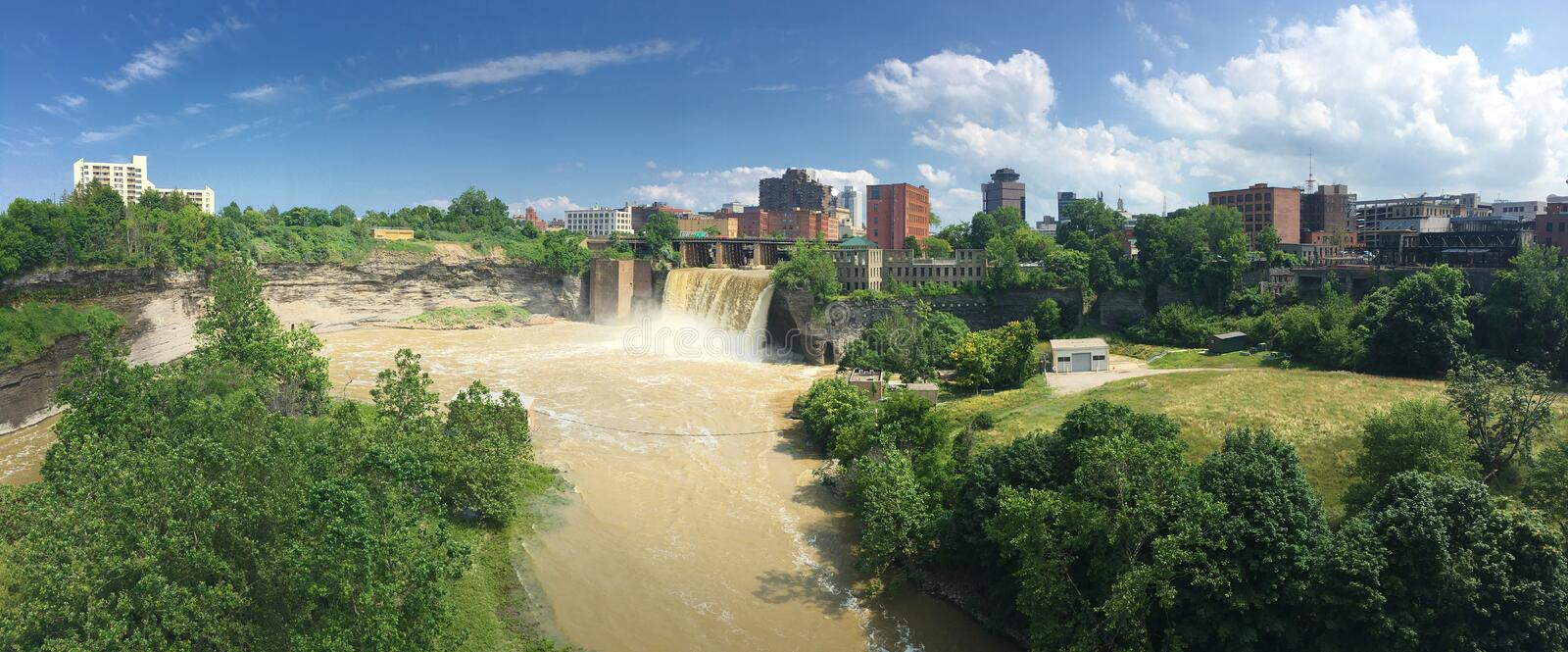 Panorama view of High Falls and the City of Rochester royalty free stock image