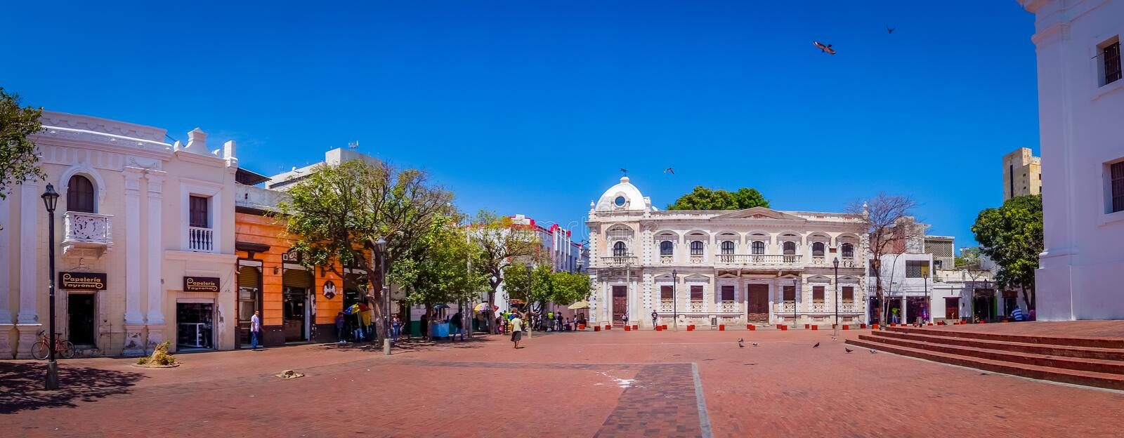 Panorama view of the historic center in Santa stock photo