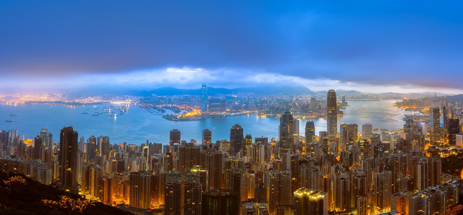 Download Panorama View Of Hong Kong City From The Sky Stock Image - Image of financial, cityscape: 111068447