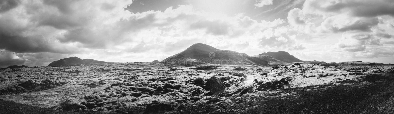 Panorama view, Iceland. Beautiful black and white landscape panorama with lens flare of Iceland royalty free stock images