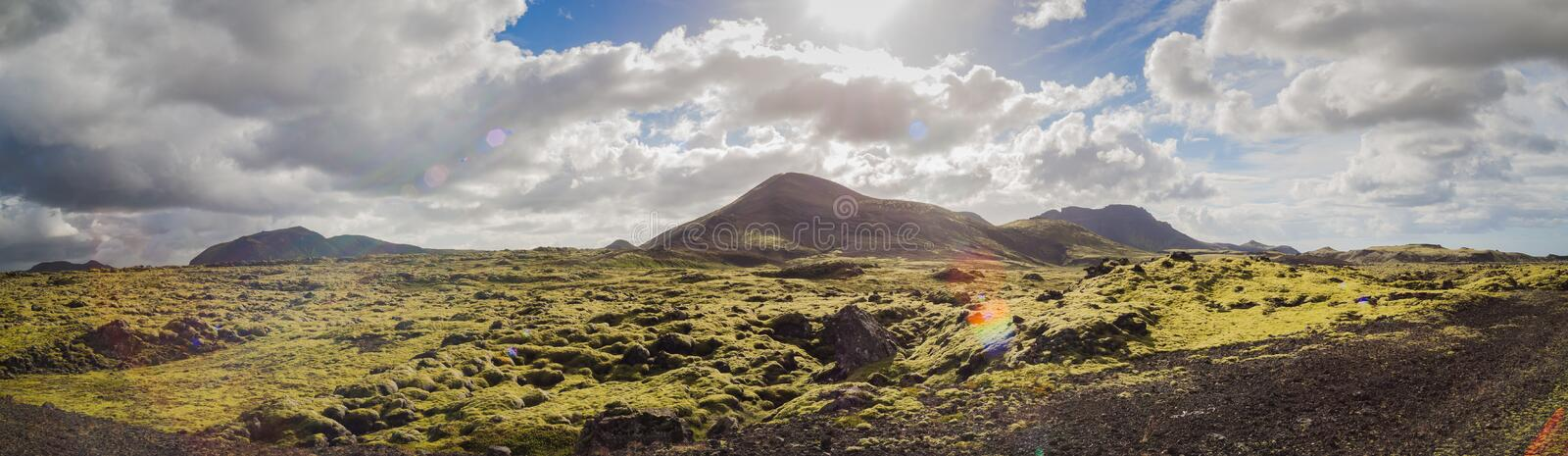 Panorama view, Iceland. Beautiful landscape panorama with lens flare of Iceland stock photo