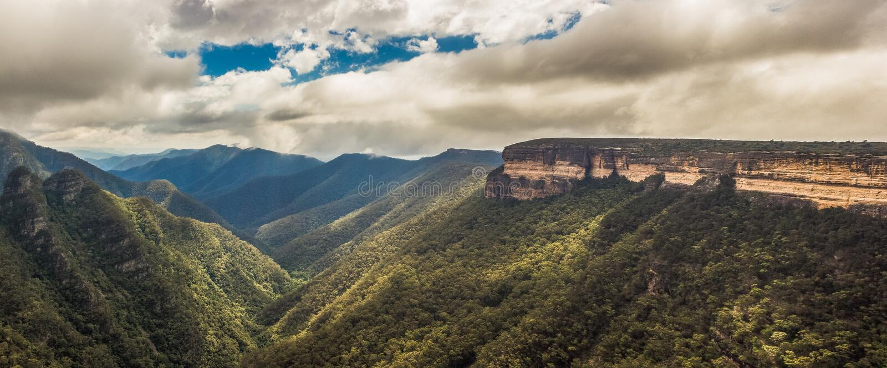 Panorama view of the Kanangra Walls, Kanangra-Boyd National Park, Australia stock images