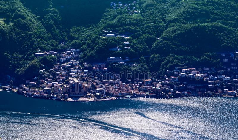 Panorama view of Lake Lugano from Monte San Salvatore. Campione d`Italia, Lugano lake, Switzerland royalty free stock photo